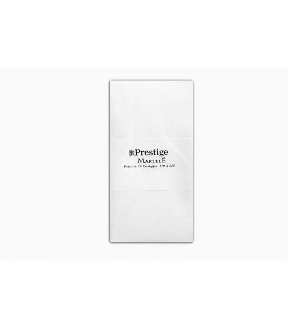 "20 envelopes pure white hammered paper ""Prestige"" 110x220 120 grams"