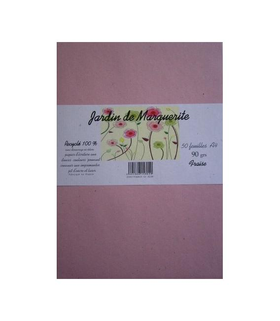 "Ream 50 kraft foils STRAWBERRY A4 90 ""Jardin de Marguerite"""